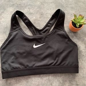 Nike black sports bra with white swoosh